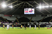 The giant screen during The Emirates FA Cup Fifth Round Replay match between Swansea City and Sheffield Wednesday at the Liberty Stadium, Swansea, Wales, UK. Tuesday 27 February 2018