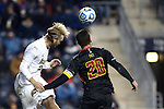15 December 2013: Notre Dame's Grant Van De Casteele (left) and Maryland's Jake Pace (20). The University of Maryland Terripans played the University of Notre Dame Fighting Irish at PPL Park in Chester, Pennsylvania in a 2013 NCAA Division I Men's College Cup championship match. Notre Dame won the game 2-1.