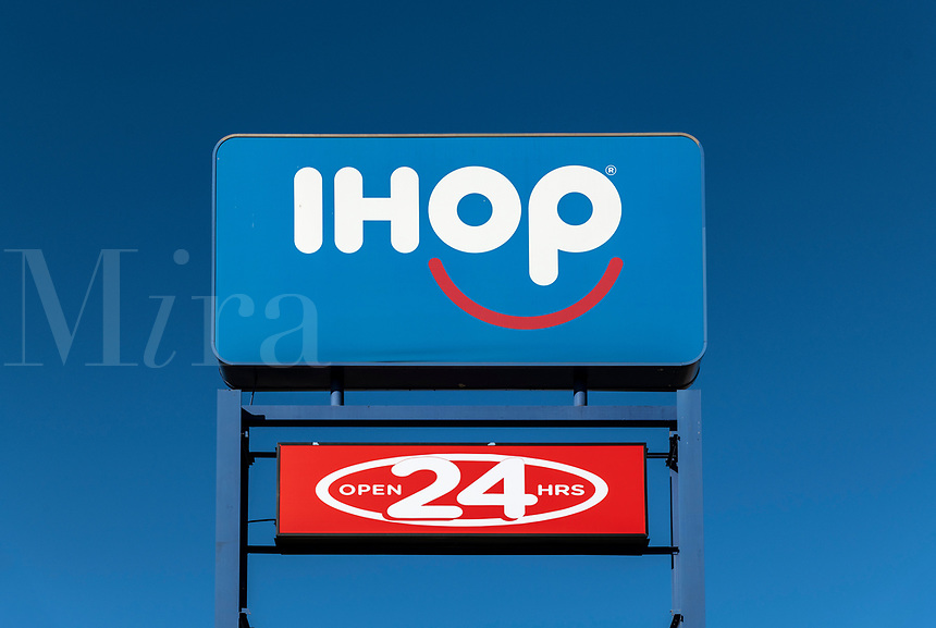 iHop, International House of Pancakes logo and sign.