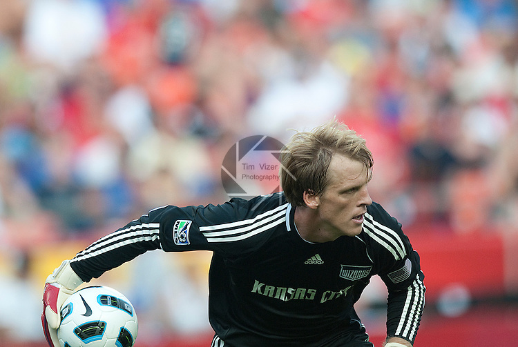 """July 25, 2010          Kansas City Wizards goalkeeper Jimmy Nielsen (1) rolls the ball out to teammates late in the second half.  The Kansas City Wizards of Major League Soccer defeated Manchester United of the English Premier League 2-1 in an international friendly game on Sunday July 25, 2010 at Arrowhead Stadium in Kansas City, Missouri.  The game is the third of four stops for Manchester United on their """"Tour 2010""""."""