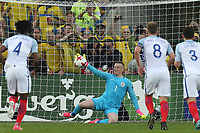 Jordan Pickford of England  saves a penalty from Linus Wahlqvist of Sweden during Sweden Under-21 vs England Under-21, UEFA European Under-21 Championship Football at The Kolporter Arena on 16th June 2017