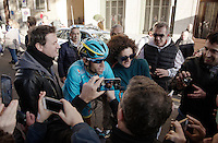 Vincenzo Nibali (ITA/Astana) mobbed by fans and Italian press where ever he goes post-finish<br /> <br /> 107th Milano-Sanremo 2016