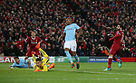 Ederson of Manchester City and Fernandinho of Manchester City can only look on as Mohamed Salah of Liverpool scores the first goal during the Champions League Quarter Final 1st Leg, match at Anfield Stadium, Liverpool. Picture date: 4th April 2018. Picture credit should read: Simon Bellis/Sportimage