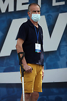 Italian center-right senator Roberto Calderoli wearing a mask and leaning on a crutch during the demonstration of the center-right parties at Piazza del Popolo, Together for the Italy of work. Rome (Italy), July 4th 2020<br /> Foto Insidefoto