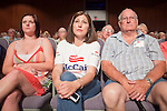 June 4 - MESA, AZ: Supporters of US Sen John McCain (R-AZ) listen to the Senator speak at a town hall meeting in Mesa, AZ, Friday. US Senator John McCain and former Massachusetts Governor Mitt Romney appeared together in a McCain town hall meeting in Mesa, AZ, Friday to promote McCain's reelection campaign. The long serving Republican US Senator is in a tight primary battle with former Congressman JD Hayworth who is running on a conservative plank against McCain.   Photo By Jack Kurtz