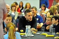 SWANSEA....<br /> WITH STORY....PREMIER LEAGUE READING STARS EVENT....<br /> THURSDAY 25th SEPTEMBER 2014<br /> Gylfi Sigurdsson pictured during the Premier League Reading Stars event at the Liberty Stadium