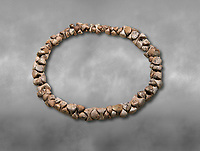 Bone necklace. Catalhoyuk Collections. Museum of Anatolian Civilisations, Ankara. Against a gray mottled background