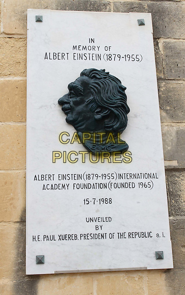 Plaque on wall in Valletta, Malta - on Thursday and Friday January 29th and 30th 2015<br /> CAP/ROS<br /> &copy;Steve Ross/Capital Pictures