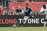 FOXBOROUGH, MA - JULY 27:  Brandon Bye #15 passes forward towards the goal at Gillette Stadium on July 27, 2019 in Foxborough, Massachusetts.