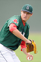 Starting pitcher Trey Ball (24) of the Greenville Drive warms up before a game against the Savannah Sand Gnats on Sunday, August 24, 2014, at Fluor Field at the West End in Greenville, South Carolina. Ball was a first-round pick of the Boston Red Sox (seventh overall) in the 2013 First-Year Player Draft. Greenville won, 8-5. (Tom Priddy/Four Seam Images)