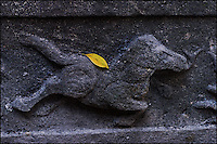 Yellow leaf on a stone-carved horse ornament in a Chinese temple.