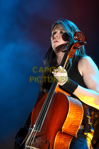Apocalyptica.Concert in Moscow, Russia..April 12th, 2009.stage concert live gig performance performing music in on half length black sleeveless cello.CAP/PER/SB.©SB/PersonaStars/CapitalPictures