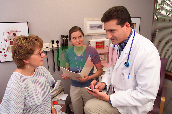 young male doctor writing prescription while talking with female patient seated on examination table as nurse looks on