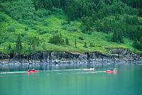 Sea kayakers, Harriman Fjord, Prince William Sound, Alaska.