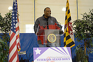 November 5, 2011  (Landover, MD)  Rushern Baker, Prince George's County Executive, speaks to an audience at the first Prince George's County Veterans Stand Down and Homeless Resource Day.  The event, held at the Wayne K. Curry Sports and Learning Complex, offered a variety of services to veterans and homeless residents through government and private partnerships.   (Photo by Don Baxter/Media Images International)