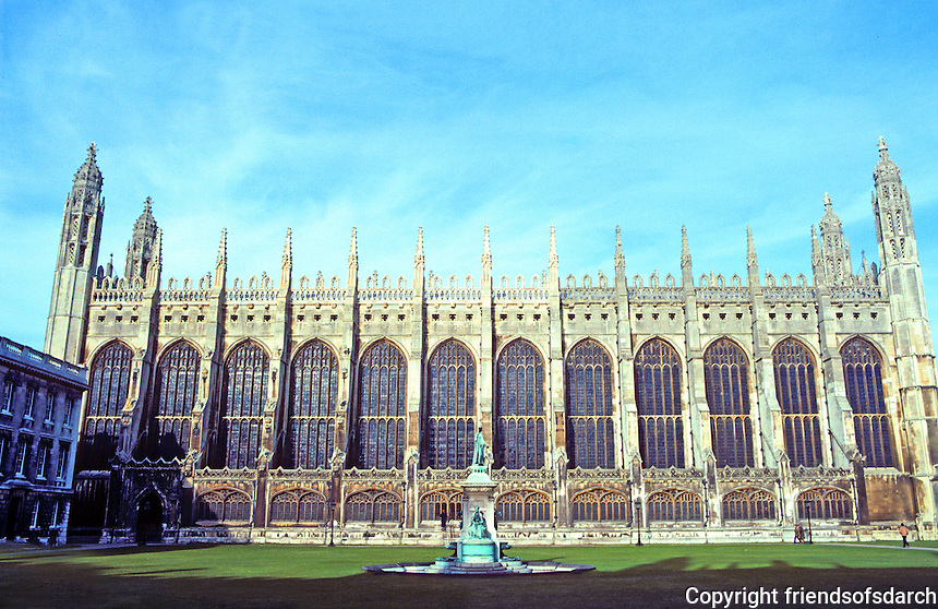 Cambridge: King's College Chapel, profile. Photo '82.