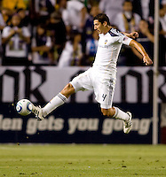 LA Galaxy defender Omar Gonzalez (4) flys through the air to retrieve a ball. The LA Galaxy and Toronto FC played to a 0-0 draw at Home Depot Center stadium in Carson, California on Saturday May 15, 2010.  .