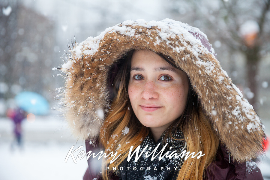 Beautiful Girl in the Winter Snow, Seattle, WA, USA.
