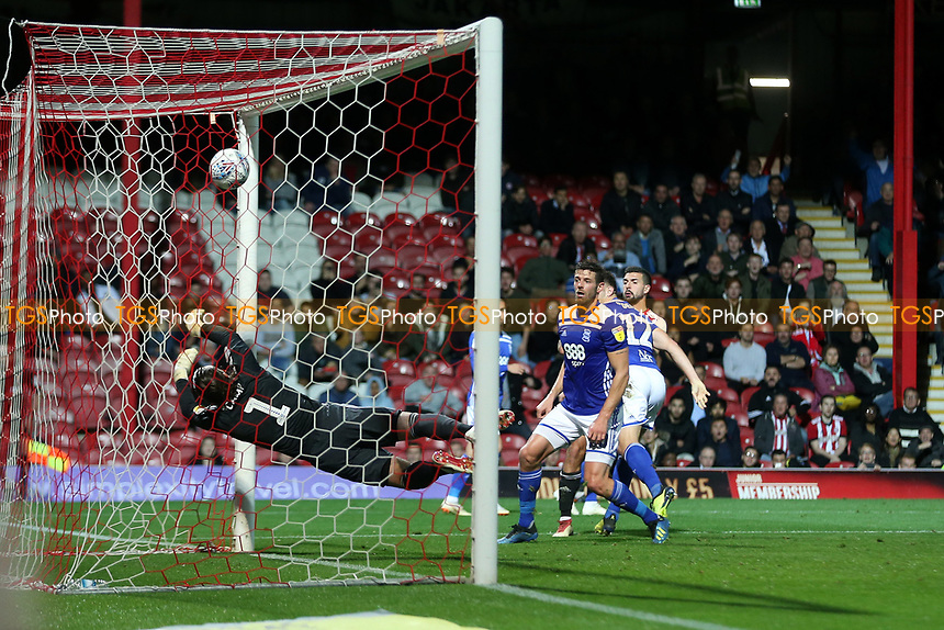 Birmingham goalkeeper, Lee Camp, is unable to stop the ball from crossing the line as Josh McEachran (out of picture) scores Brentford's opening goal during Brentford vs Birmingham City, Sky Bet EFL Championship Football at Griffin Park on 2nd October 2018