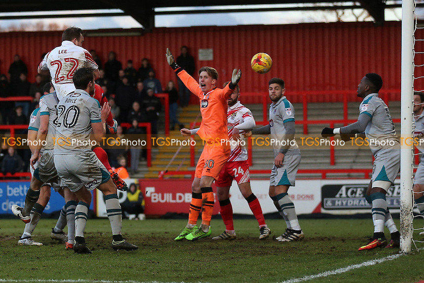 Charlie Lee of Stevenage finds the net but his goal is disallowed during Stevenage vs Grimsby Town, Sky Bet EFL League 2 Football at the Lamex Stadium on 28th January 2017