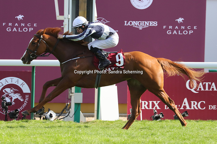 October 06, 2019, Paris (France) - Albinga (9) with Shane Foley up wins the Qatar Prix Marcel Boussac (Gr I) on October 6 in ParisLongchamp. [Copyright (c) Sandra Scherning/Eclipse Sportswire)]
