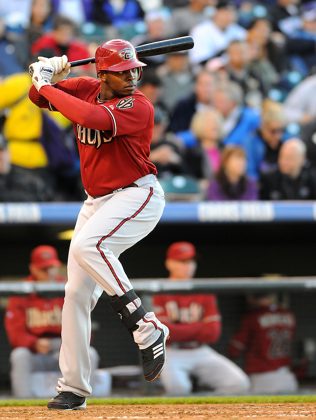 25 MAY 2011: Arizona Diamondbacks right fielder Justin Upton (10) during a regular season game between the Arizona Diamondbacks and the Colorado Rockies at Coors Field in Denver, Colorado. The Diamondbacks beat the Rockies 2-1 in second game of a split doubleheader.   *****For Editorial Use Only*****