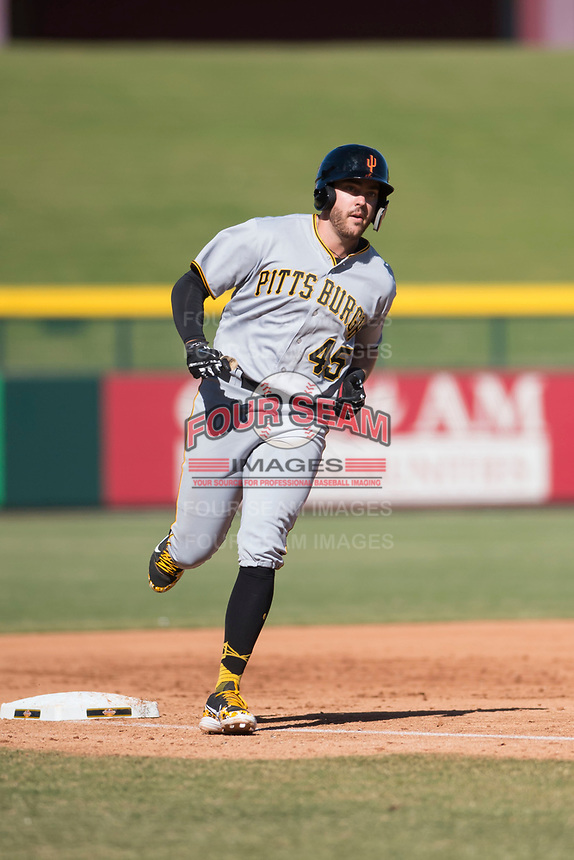 Surprise Saguaros first baseman Will Craig (45), of the Pittsburgh Pirates organization, rounds the bases after hitting a home run during an Arizona Fall League game against the Mesa Solar Sox at Sloan Park on November 1, 2018 in Mesa, Arizona. Surprise defeated Mesa 5-4 . (Zachary Lucy/Four Seam Images)