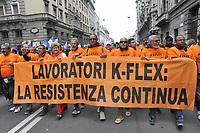 - Milano, manifestazione del 25 aprile, anniversario della Liberazione, sfilano i lavoratori della K-Flex, fabbrica in lotta<br /> <br /> - Milan, demonstration of April 25, anniversary of Italy's Liberation, parade the workers of K-Flex, factory in conflict