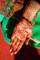 Indian Henna Tattoo Design on Hand, Dehradun, India.