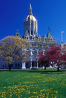 AJ1318, Hartford, State Capitol, State House, Connecticut, The Gothic style State Capitol of Hartford, Connecticut in the spring.