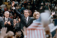 President Richard Nixon - A break in at the Democratic National Committee headquarters at the Watergate complex on June 17, 1972 results in one of the biggest political scandals the US government has ever seen.  Effects of the scandal ultimately led to the resignation of  President Richard Nixon, on August 9, 1974, the first and only resignation of any U.S. President.