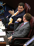 Nevada Senate Republicans Michael Roberson and Ben Kieckhefer work on the Senate floor in the final hours of the session at the Legislative Building in Carson City, Nev., on Monday, June 1, 2015.<br /> Photo by Cathleen Allison