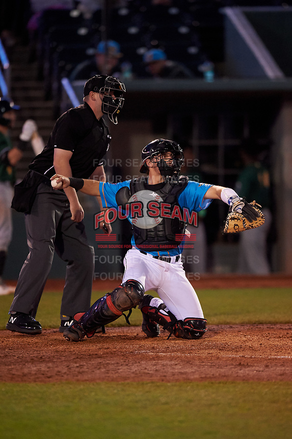 Lansing Lugnuts catcher Hagen Danner (24) during a Midwest League game against the Beloit Snappers at Cooley Law School Stadium on May 4, 2019 in Lansing, Michigan. The Lugnuts wore their Copa de la Diversión jerseys, becoming the Lansing Locos for the evening. Beloit defeated Lansing 2-1. (Zachary Lucy/Four Seam Images)
