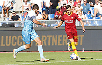 Roma's Stephan El Shaarawy, right, is challenged by Lazio's Francesco Acerbi during the Italian Serie A football match between Roma and Lazio at Rome's Olympic stadium, September 29, 2018. Roma won 3-1.<br /> UPDATE IMAGES PRESS/Riccardo De Luca