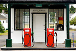 The two pump gas station at Fort Worden State Park in Port Townsend, Washington.