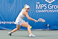 April 11, 2010:  MPS Group Championships. Caroline Wozniacki (DEN) reaches for a backhand return against Olga Govortsova (BLR) (not pictured) during finals singles action at the MPS Group Championships played at the Sawgrass Country Club in Ponte Vedra, Florida.  Caroline Wozniacki (DEN) defeated Olga Govortsova (BLR) 6-2, 7-5 to win the tournament for the second consecutive year..