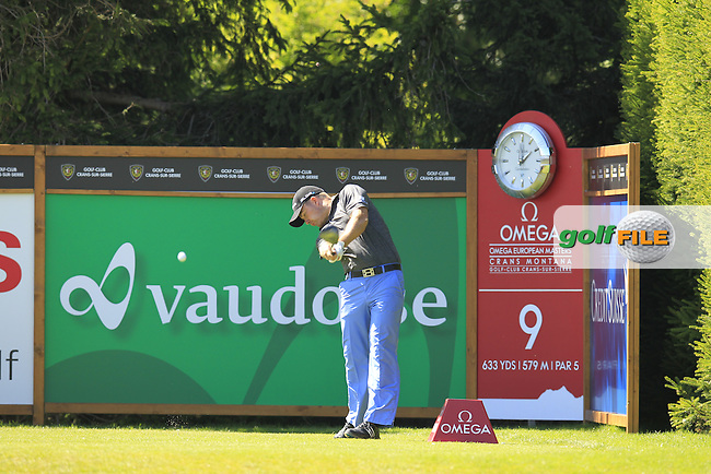 Richie RAMSAY (SCO) tees off the 9th tee during Saturday's Round 3 of the 2014 Omega European Masters held at the Crans Montana Golf Club, Crans-sur-Sierre, Switzerland.: Picture Eoin Clarke, www.golffile.ie: 6th September 2014