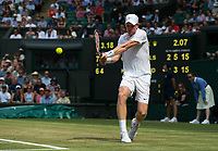 Kyle Edmund of Great Britain in action during his defeat by Gael Monfils (15) of France in their Men's Singles Second Round Match today - Monfils def Edmund 7-6, 6-4, 6-4<br /> <br /> Photographer Ashley Western/CameraSport<br /> <br /> Wimbledon Lawn Tennis Championships - Day 4 - Thursday 6th July 2017 -  All England Lawn Tennis and Croquet Club - Wimbledon - London - England<br /> <br /> World Copyright &not;&copy; 2017 CameraSport. All rights reserved. 43 Linden Ave. Countesthorpe. Leicester. England. LE8 5PG - Tel: +44 (0) 116 277 4147 - admin@camerasport.com - www.camerasport.com