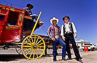 Three cowboys with their reed horse wagon in Tombstone, Arizona, USA foto, reise, photograph, image, images, photo,<br />