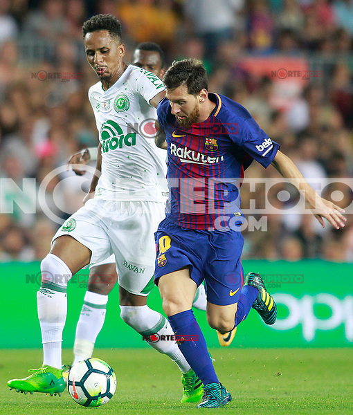 FC Barcelona's Leo Messi (r) and Chapecoense's Lucas Mineiro during Joan Gamper Trophy. August 7,2017. (ALTERPHOTOS/Acero) /NortePhoto.com