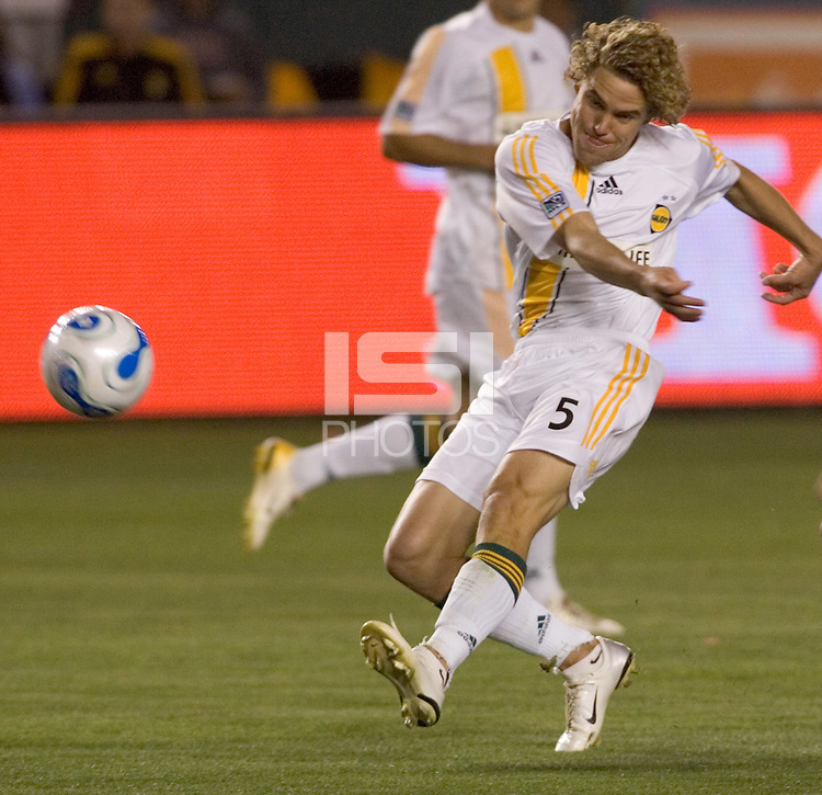 LA Galaxy's Chris Albright attempts a shot on goal during a MLS match. FC Dallas beat LA Galaxy 2-1 at the Home Depot Center in Carson, California, Thursday April 12, 2007.
