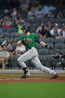 Down East Wood Ducks Sam Huff (28) at bat during a Carolina League game against the Fayetteville Woodpeckers on August 13, 2019 at SEGRA Stadium in Fayetteville, North Carolina.  Fayetteville defeated Down East 5-3.  (Mike Janes/Four Seam Images)