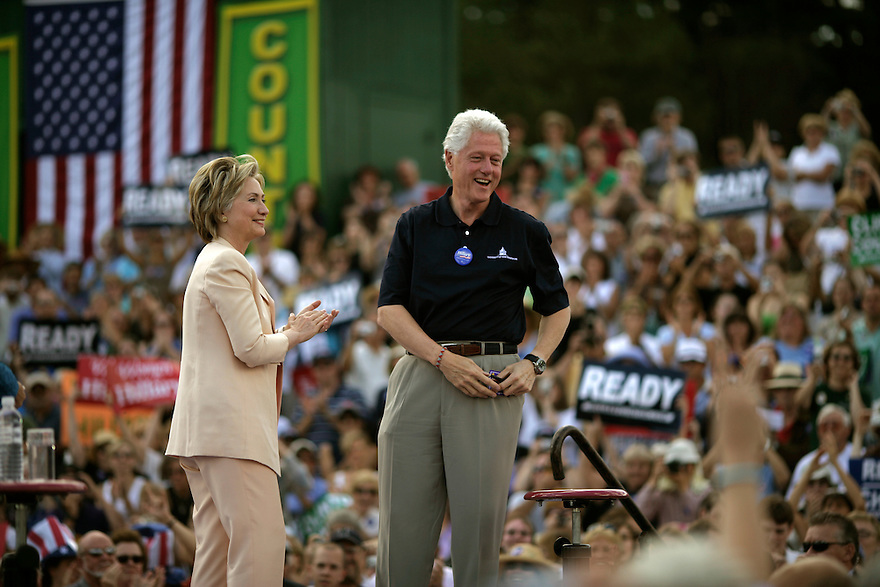 Democratic presidential candidate Hillary Clinton and former President Bill Clinton campaign in New Hampshire, July 13, 2007. <br /> Photo by Brooks Kraft/Corbis