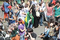 RIO DE JANEIRO,RJ,22.03.2013: O BATALHÃO DE CHOQUE INVADIU A ALDEIA MARACANÃ- Policiais do batalhão de choque invadiu a Aldeia Maracanã nesta tarde e houve tumulto do lado de fora da Aldeia. A Avenida Maracanã chegou a ser interditada por uma hora e manifestantes entraram em confronto com a policia que desparou tiros de balas de borracha, e usou esplay de pimenta. Uma ativista do FEMEN conhecida como Sara tirou a blusa em protesto e foi detida pela policia. SANDROVOX/BRAZILPHOTOPRESS