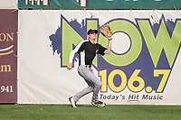 Grand Junction Rockies right fielder Will Golsan (11) prepares to catch a fly ball during a Pioneer League game against the Missoula Osprey at Ogren Park Allegiance Field on August 21, 2018 in Missoula, Montana. The Missoula Osprey defeated the Grand Junction Rockies by a score of 2-1. (Zachary Lucy/Four Seam Images)