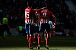 Atletico de Madrid's Stefan Savic (L) and Saul Niguez (R) celebrate goal during La Liga match between Atletico de Madrid and CD Leganes at Wanda Metropolitano stadium in Madrid, Spain. March 09, 2019. (ALTERPHOTOS/A. Perez Meca)