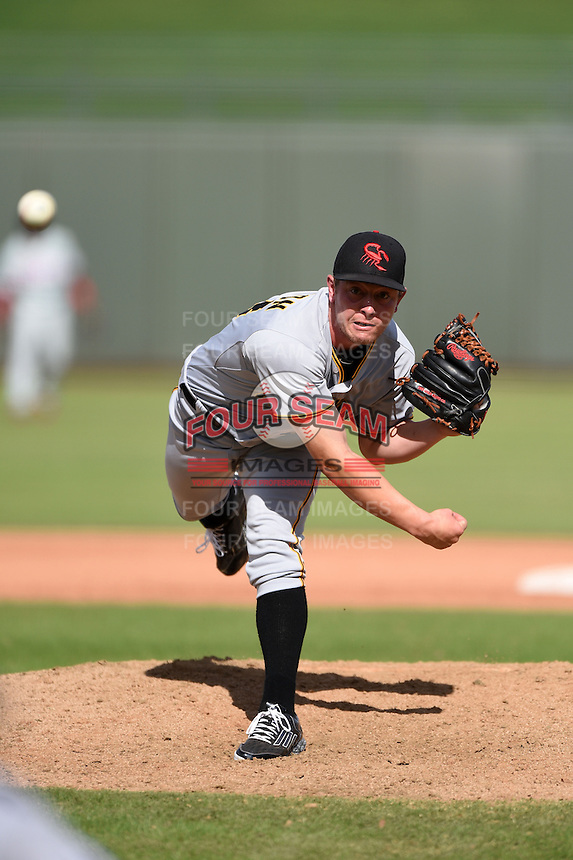 Scottsdale Scorpions pitcher Adrian Sampson (43) during an Arizona Fall League game against the Peoria Javelinas on October 18, 2014 at Surprise Stadium in Surprise, Arizona.  Peoria defeated Scottsdale 4-3.  (Mike Janes/Four Seam Images)