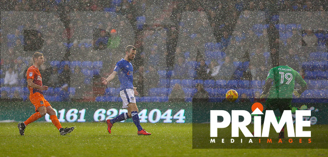 Oldham Athletic's Johnny Placide (R) during the Sky Bet League 1 match between Oldham Athletic and Northampton Town at Boundary Park, Oldham, England on 9 December 2017. Photo by Juel Miah / PRiME Media Images.
