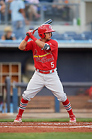 Palm Beach Cardinals center fielder Chase Pinder (5) at bat during a game against the Charlotte Stone Crabs on April 21, 2018 at Charlotte Sports Park in Port Charlotte, Florida.  Charlotte defeated Palm Beach 5-2.  (Mike Janes/Four Seam Images)