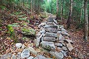 October 2012 - Stone steps along the Mt Tecumseh Trail in the White Mountains of New Hampshire. One year after being built, this length of staircase is being regularly maintained for appearances and has been cleaned up since the end of July 2012. And the hillside continues to erode.